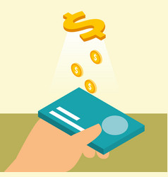 hand holding bank card credit coins dollar money vector image