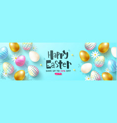 happy easter sale card withcolorful eggs and vector image