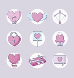 happy valentines day set icons vector image