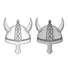 horned viking helmets hand drawn sketch vector image vector image