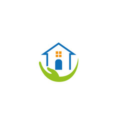 house hand home caregiver logo vector image