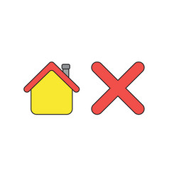 Icon concept house with x mark black outlines vector