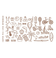 Icons for summer rest or active recreation items vector