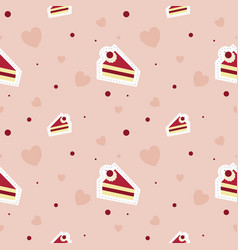 in love with cake pattern seamless and heart on vector image