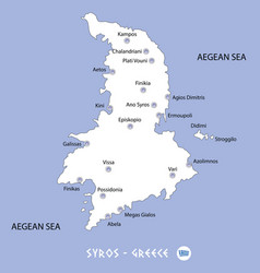 island of syros in greece white map and blue vector image