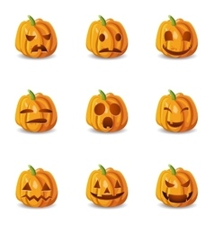 Isolated Halloween Pumpkin Emoticons Set vector image