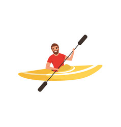 Kayaking man water sport activity vector