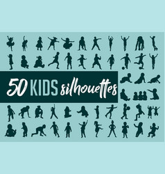 kids silhouette collection vector image