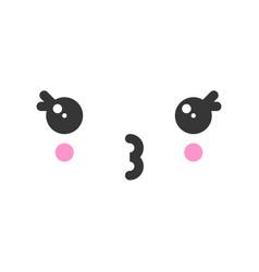 Kiss kawaii cute emotion face emoticon vector