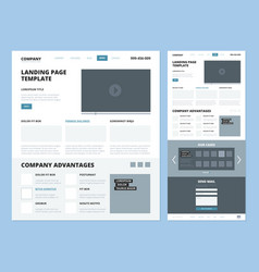 landing page template website layout design vector image