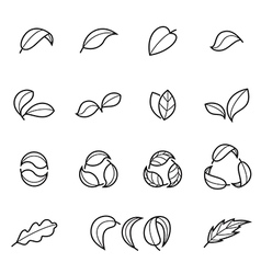 Line leaves icons vector