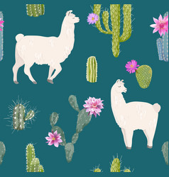 llama and cactus seamless pattern lamas background vector image