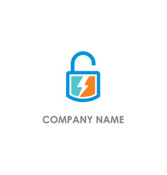lock safe lightbolt energy logo vector image