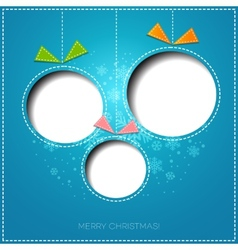 Merry Christmas greeting card with bauble Paper vector image