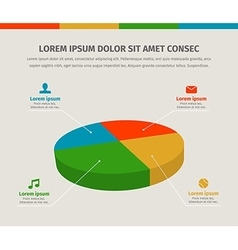 Modern 3d pie graph for web or brochures design vector image