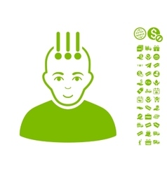 Neural Interface Icon With Free Bonus vector image