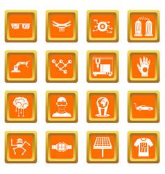 New technologies icons set orange vector