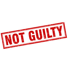 Not guilty red square grunge stamp on white vector