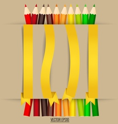 Paper note with color pencils background vector