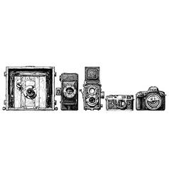 Photo cameras evolution set vector