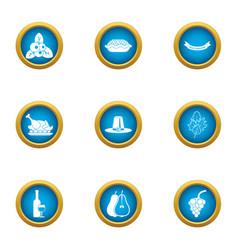 Plantation icons set flat style vector