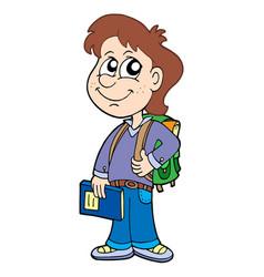 pupil boy with school bag vector image