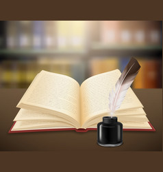 realistic open book literary work vector image