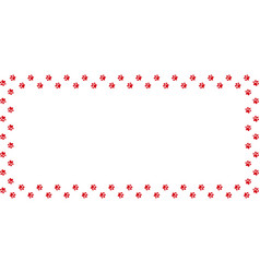 Rectangle frame made of red animal paw prints on vector