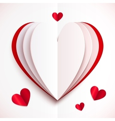 Red and white folded paper heart vector