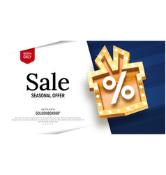 sale banner with golden gift box vector image