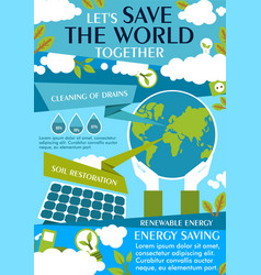 Save world ecology flat banner for eco concept vector