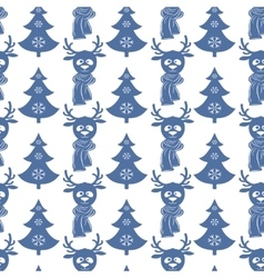Seamless Christmas pattern with deers and trees vector image