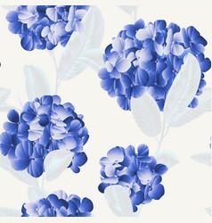 seamless pattern blue hydrangea flower vector image