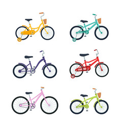 set kid bicycles on white background children vector image