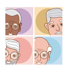 Set of grandparents cartoons vector