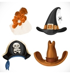 Set of hats for the carnival costumes - female vector image