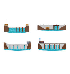 set of hydro power plant vector image