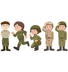 Set of people in soldier uniform vector image