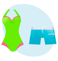 Set swimsuit and swimming trunks vector