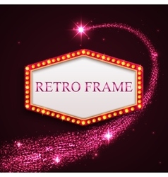 Shining retro frame with falling star Night sky vector