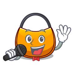 Singing hobo bag outline on image cartoon vector