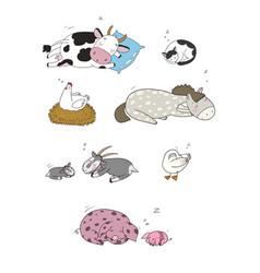 Sleeping farm animals cute cartoon horse cow vector