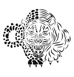 snow leopard isolated black silhouette vector image