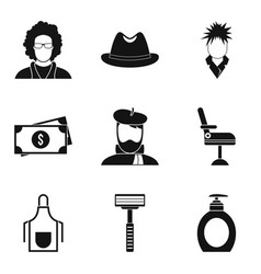 Spiny icons set simple style vector