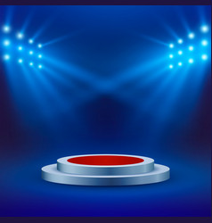 stage with red carpet and spotlight on blue vector image