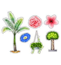 Sticker set with different kinds of plants vector