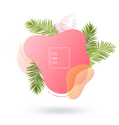 summer banner template tropical liquid geometric vector image