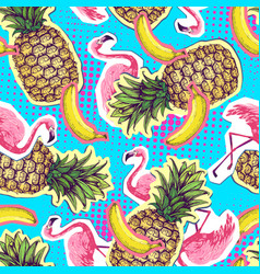 summer seamless bright pattern with flamingo a vector image
