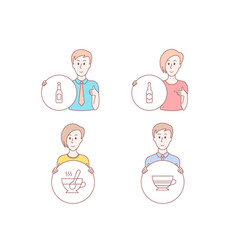 tea cup beer and beer bottle icons mocha sign vector image
