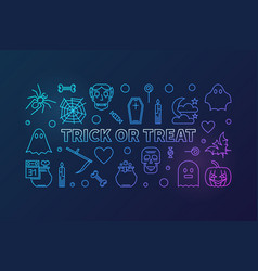 trick or treat line colored vector image